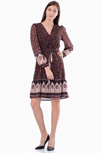 Kadın Siyah & Desenli Kruvaze  Elbise 5301-1333