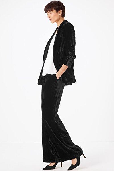 Marks & Spencer Kadın Siyah Kadife Blazer Ceket T59005640J