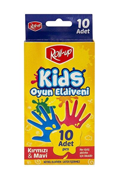 Roll-Up Nitril Kids Oyun Eldiveni Kırmızı&Mavi 10'lu