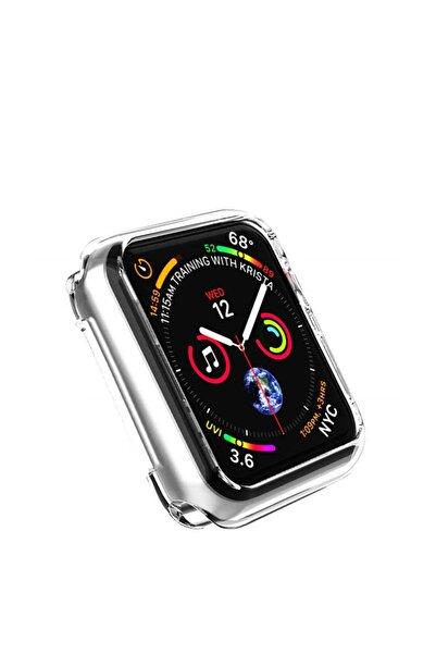 Microcase Apple Watch Seri 5  Önü Kapalı Tasarım Silikon Kılıf - Şeffaf 40 mm.