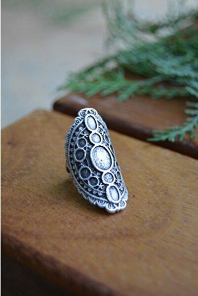 Stoneage Bayan Antik Gümüş Bohem Yüzük Ayarlanabilir