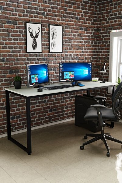Ceramical Çalışma Masası, Bilgisayar Masası, Ofis Masası (60x160 Cm, Beyaz)