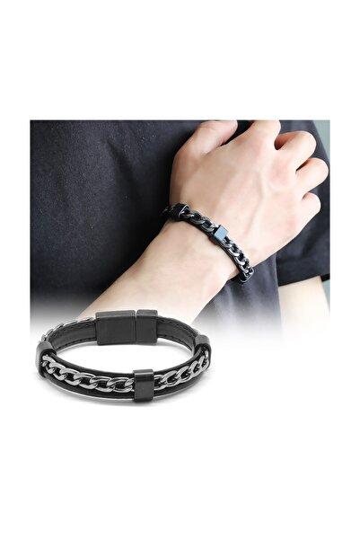 Tesbihane Kararmaz Metal Zincir Örgülü Siyah Deri-Çelik Kombinli Erkek Bileklik 104000505
