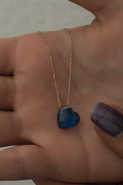 Papatya Silver Renk Değiştiren Doğal Taşlı His Taşı Gümüş Kalp Kolye