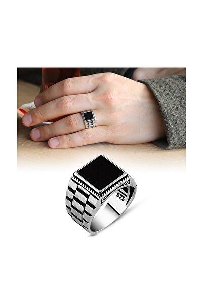 Tesbihane Simetrik Desenli Siyah Oniks Taşlı 925 Ayar Gümüş Erkek Yüzük 102000494