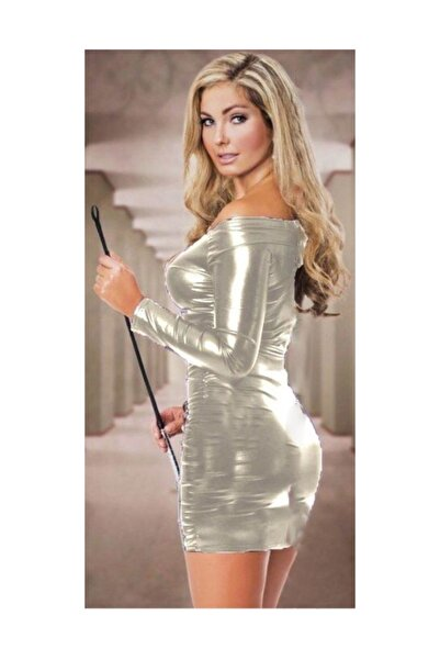 JT Uzun Kollu Parlak Mini Elbise