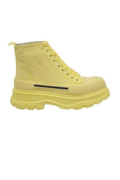 GÖKBAKAN Kalın Taban, Uzun Keten, Sarı Kadın Ayakkabısı