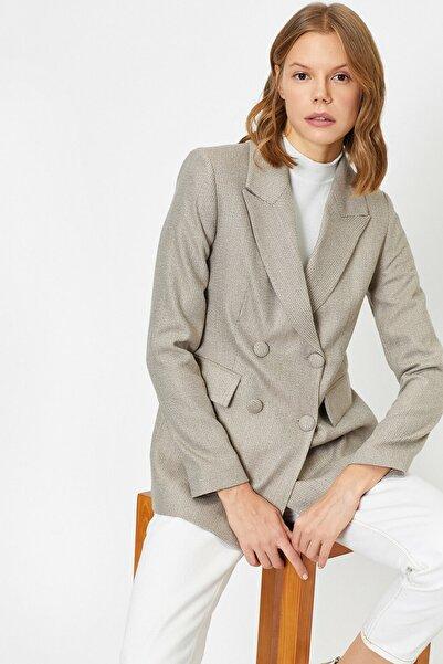 Koton Kadın Ekru Düğme Detaylı Ceket