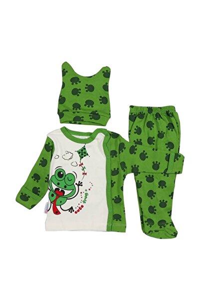 Bebe Kurbağa Baskılı Kendinden Eldivenli K Pijama Takımı