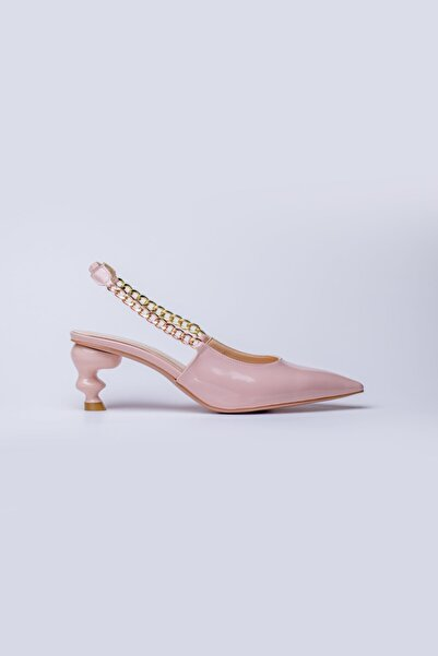 Nervia Kadın Pudra Zincirli Kısa Topuklu Ayakkabı