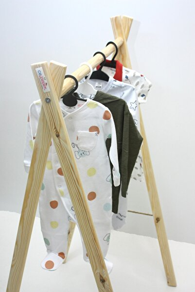 Ceebebek Ahşap Ayaklı Elbise Askısı Portmanto Ayaklı Askılık Kıyafet Konfeksiyon Askısı Montessori Askılık
