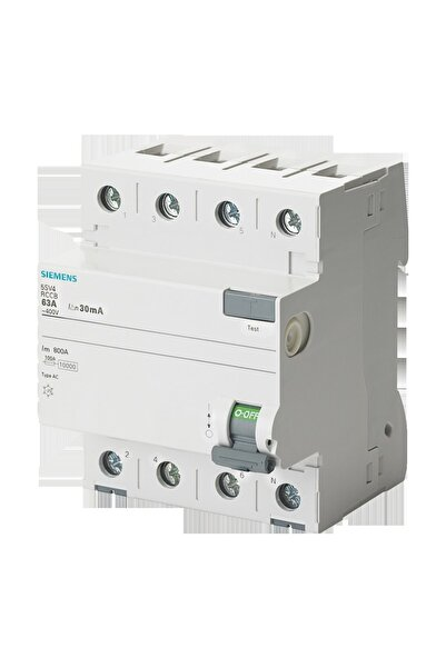 Siemens Siemens 5SV4342-0  25A  30mA  400V (3 Faz+Nötr) Kaçak Akım Koruma Rölesi