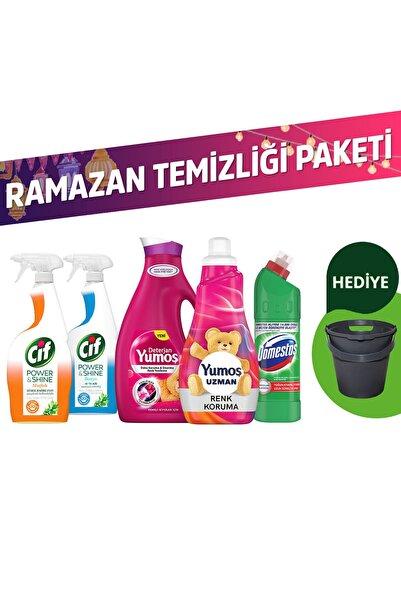 Domestos Ramazan Temizliği Paketi Yumoş Yumuşatıcı+Deterjan+Domestos Ç.Suyu+Cif Sprey 2'li+10lt Kova Hediyeli