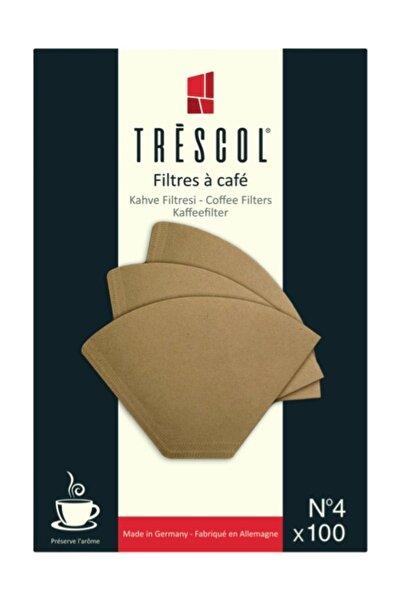 TRESCOL Kahve Filtresi 4 Numara (büyük Boy) 100 'lü Paket (naturel Kağıt)