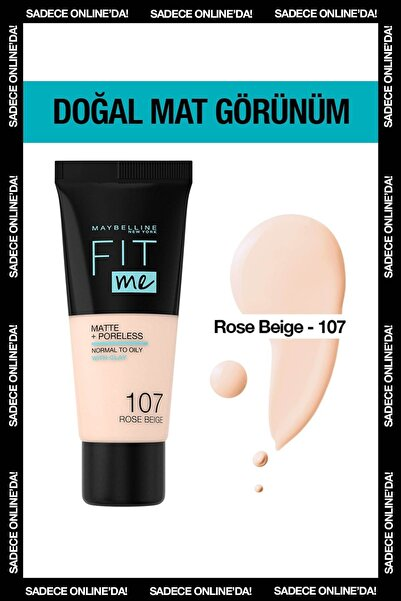 Maybelline New York Mat Fondöten - Fit Me Matte + Poreless Foundation 107 Rose Beige 3600531549381