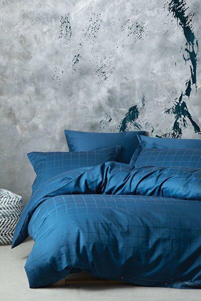 Yataş Bedding Destra Çift Kişilik Saten Nevresim Takımı-Koyu Mavi