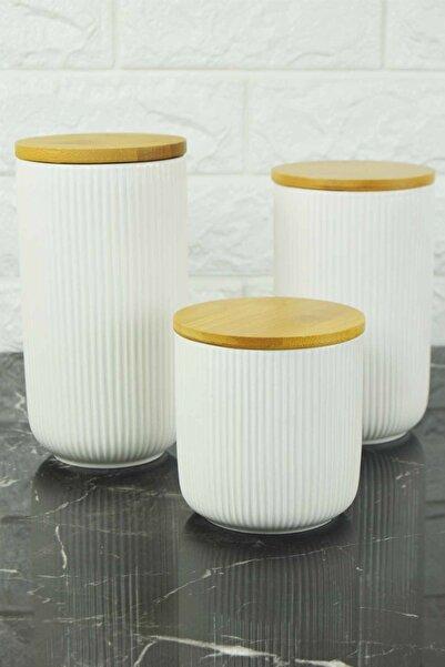 SepetçiBaba 3'lü White Porselen Kavanoz