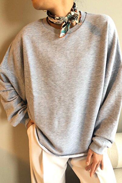 BASIC&CO Skye Oversized Gri Melanj Sweatshirt