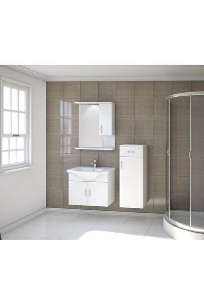 Kare Banyo Kare Akyazı Serisi 65 cm Mdf Banyo Dolabı Takımı+seramik Lavabo (Boy Dolabı Hariç)