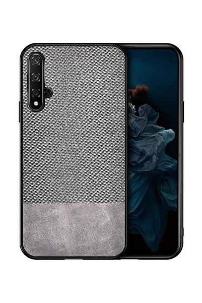 Microcase Huawei Honor 20 - Nova 5t Fabrik Serisi Kumaş Ve Deri Desen Kılıf - Gri