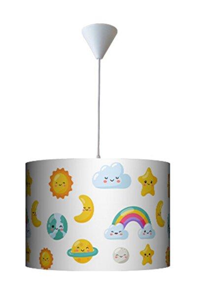 Ömür Avize Renkli Emojili Yıldızlı Bulutlu Çocuk Odası Avizesi