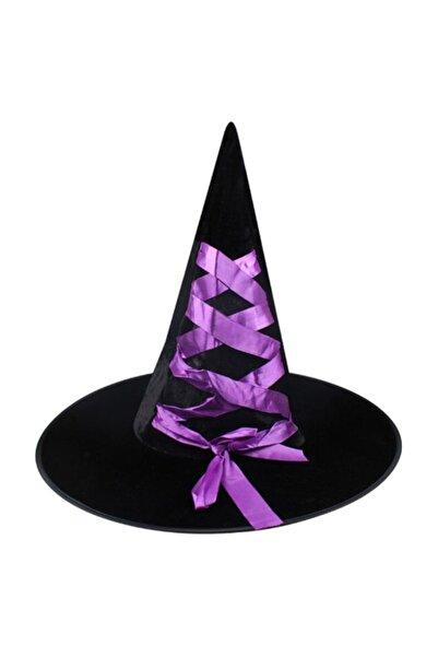 Pandoli Mor Kurdeleli Siyah Renk Kadife Halloween Cadı Şapkası