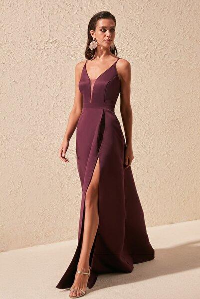 TRENDYOLMİLLA Mürdüm Bağlama Sırt Detaylı Abiye & Mezuniyet Elbisesi TPRSS20AE0061