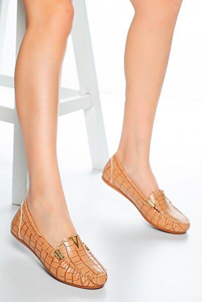 Moda Değirmeni Nut Kroko Tokalı Kadın Günlük Klasik Ayakkabı Md1001-113-0002