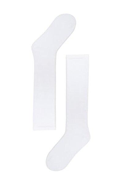 Kadın Beyaz Family Dizaltı Basic Çorap