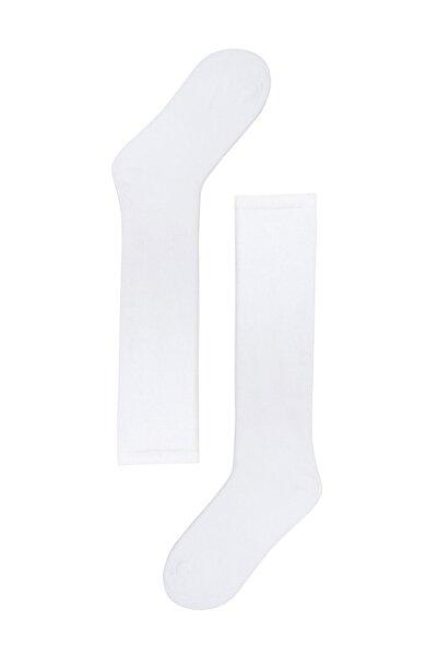 Katia&Bony Kadın Beyaz Family Dizaltı Basic Çorap