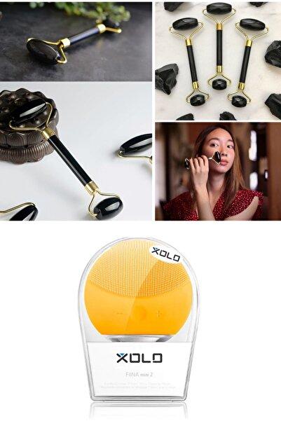 xolo Şarj Edilebilir Sarı Yüz Temizleme Cihazı + Jade Roller Siyah 2'li Yeşim Taşı Masaj Aleti