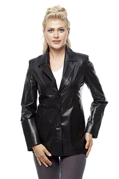 Deriza Kadın Blazer Siyah Deri Ceket 3226