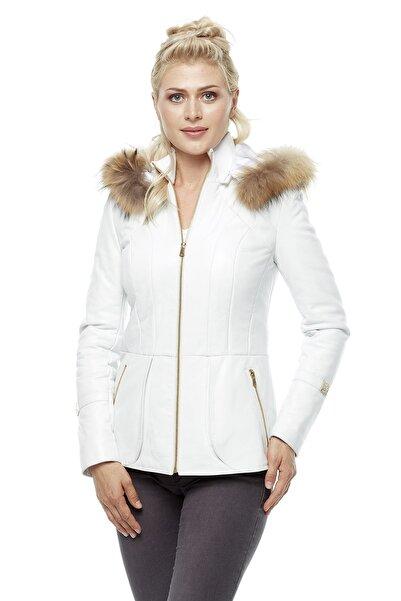 Deriza Kadın Beyaz Deri Ceket 3211