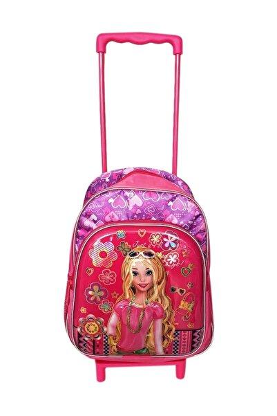 BigSale Anaokulu Çekçekli Sırt Çantası Barbie Çekçeği Ayrılabilen 2 Gözlü