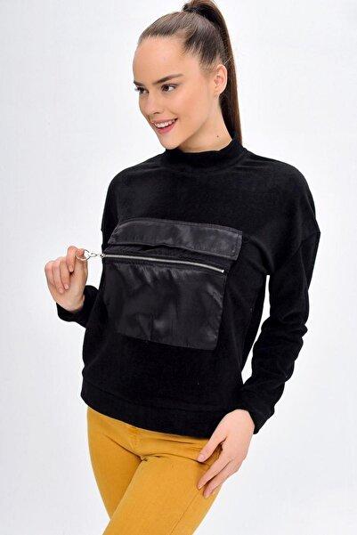 Deppoist Kadın Siyah Kangru Cep Polar Sweatshirt