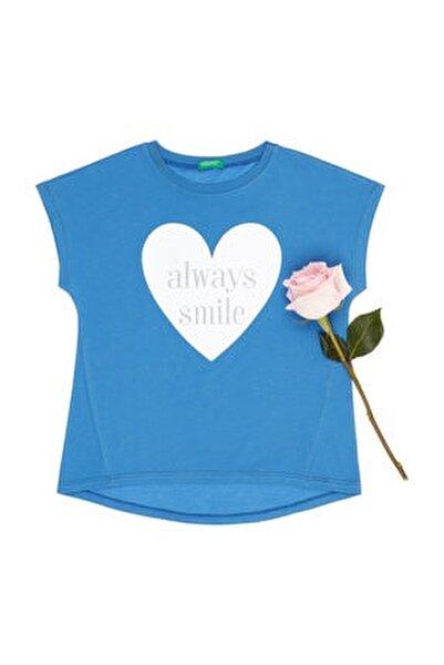 Çivit Mavi Kız Çocuk Simli Slogan Yazı Baskılı Tshirt