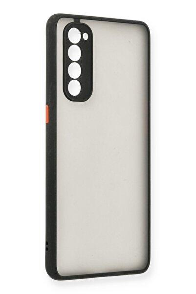 NewFace Oppo Reno 4 Pro Kılıf Montreal Kenar Renkli Silikon Kapak - Siyah