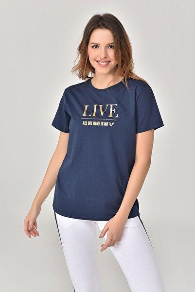 bilcee Lacivert Kadın T-Shirt GS-8620