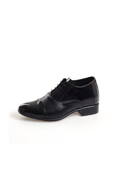 AYAK-KABI Boy Uzatan Günlük Ve Damatlık Siyah Rugan Düz Ayakkabı