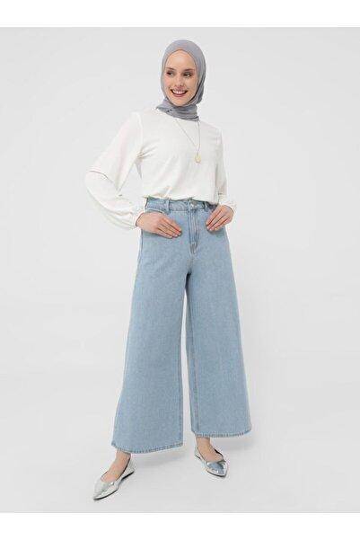 Refka Kadın Mavi Geniş Paça Kot Pantolon