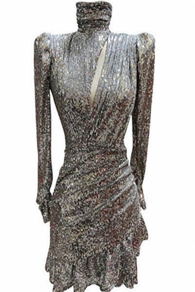 GIRA-GIRA Gri Payetli Fırfırlı Elbise