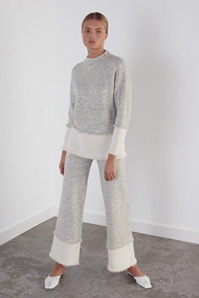 JOIN US Kadın Gri Beli Lastikli Triko Pantolon