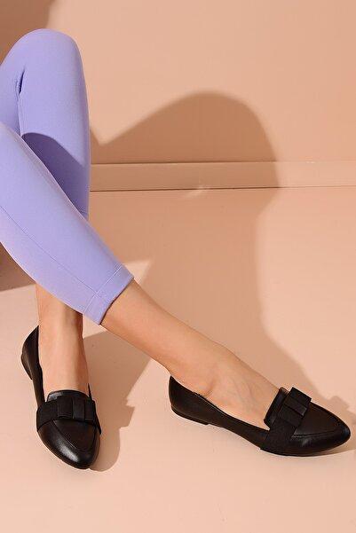 Shoes Time Siyah Deri Kadın Babet 20Y 420