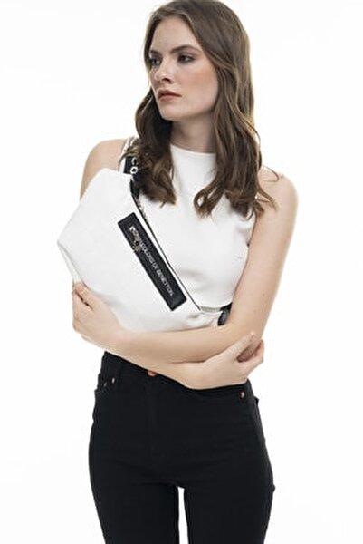 Beyaz - Siyah Kadın Bel Çantası BNT134