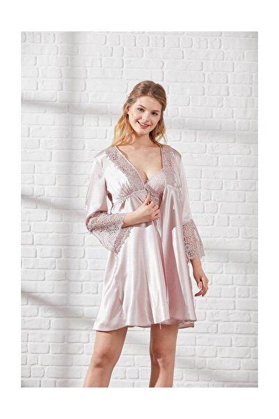 Pierre Cardin Kadın 6 Parça Dantel Detaylı Saten Gecelik Sabahlık Pijama Şort Çeyiz Seti