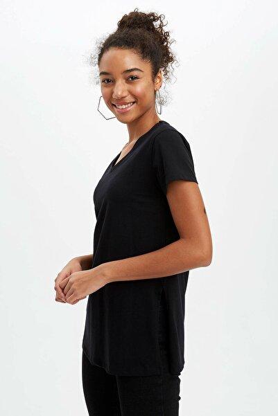 DeFacto Kadın Siyah Regular Fit Kısa Kollu Tunik N7366AZ.20SP.BK27