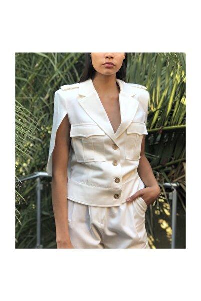 TREND Kadın Pelerinli Kolsuz Ceket