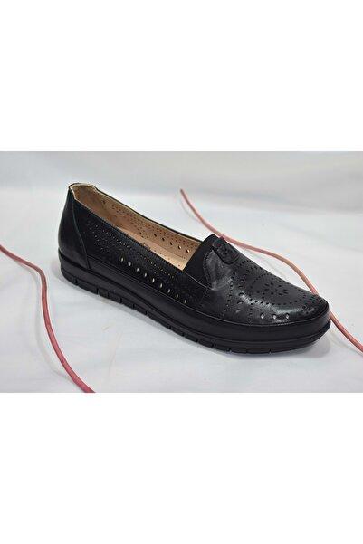 Nehir 137 Hakiki Deri Büyük Numara Kadın Ayakkabı - Siyah - 42