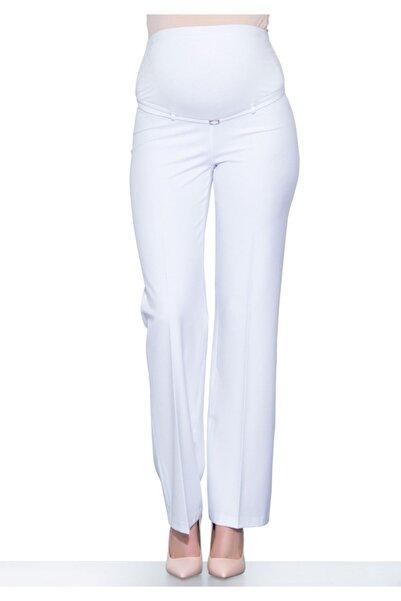 Ebru Maternity Kadın Beyaz Bol Paça Hamile Pantolonu