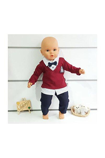 bebegen Lux Armalı Bordo Puanlı Gömlekli Pantolonlu 2 Li Papyonlu Erkek Bebek Takımı